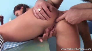Teen anal bro makes sister do the doggy tits
