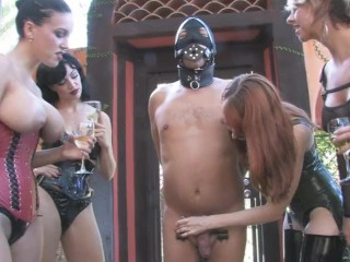 4 Mistress Humiliate Slave while drinking champagne CBT Femdom