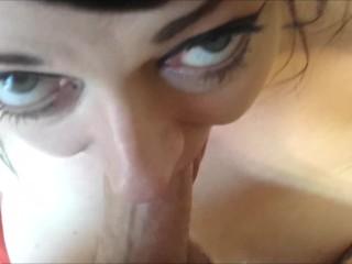 SHE CAN BREATHE COCK! DEEPTHROAT POV BIG DICK CUM ON HUGE TITS!