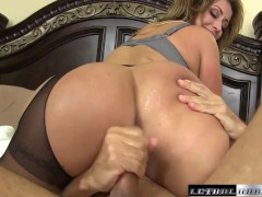 Eva blackmails sons teach then eats his ass and rides dick