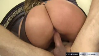 Eva blackmails sons teach then eats his ass and rides dick Boobs daughter