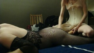 My Sexy Wife Pegs Me with Double Ended Dildo in Chastity  amateur anal femdom strapon double ended dildo amateur wife strapon orgasm chastity dildo femdom kink corset chastity femdom femdom pegging amateur milf adult toys chastity cage