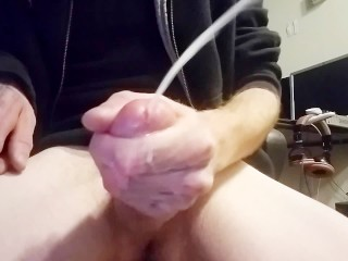 Throbbing Cock with Huge Cumshot after stroking long and hard