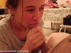 Russian tiny slut Dina make a gorgeous blowjob after shchool