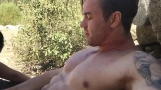 Caught fucking in a National Park!  abs muscles webcam muscle doggy style stud muscle-stud outdoor couple public blowjob amateur