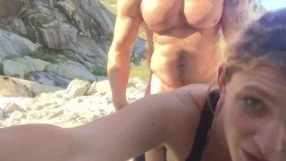 Caught fucking in a National Park!  abs muscles webcam muscle-stud muscle doggy style outdoor stud couple public blowjob amateur