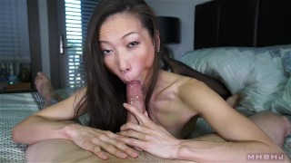 Sexy asian cocksucker works up a fat load  cock-sucking point-of-view mhb nylon asian kalina-ryu huge-cock skinny mark-rockwell petite nylon-feet the-pose mhbhj big cumshot