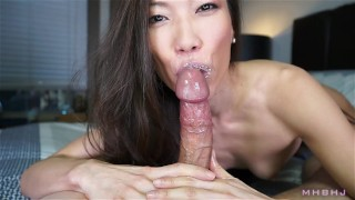 Sexy asian cocksucker works up a fat load  point-of-view mhb nylon asian kalina-ryu huge-cock skinny mark-rockwell petite nylon-feet the-pose mhbhj big cumshot