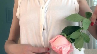 Cleo Dream enjoys a rose across her hairy body