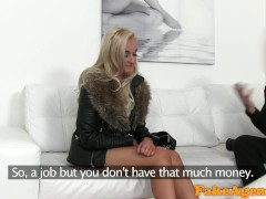 FakeAgent Blonde craves hard cock between her lovely big tits