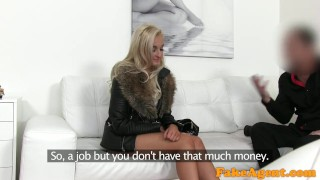FakeAgent Blonde craves hard cock between her lovely big tits Deepthroat blonde