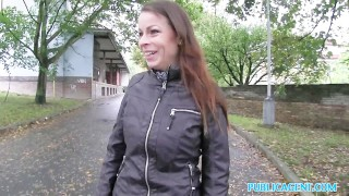PublicAgent Hot brunette milf gets fucked hard for cash on car bonnet Cock black