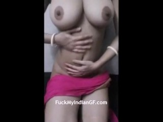 Indian Big Tits GF Pressing Her Boobs