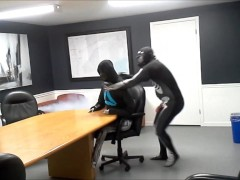 gasmasked zentai skeleton gasses and humps his enemy in the boardroom