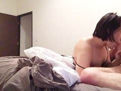 Young Asian Tranny loves sucking big straight cock