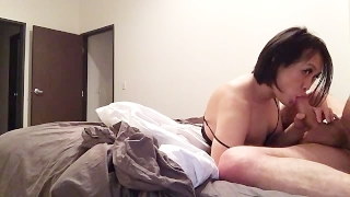 Young Asian Tranny loves sucking big straight cock Hd pov