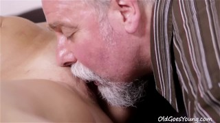 Sexy Ukrainian blondie licked and fucked by old experienced man