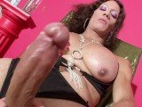 Dirty latina shemale jerks off her big dick