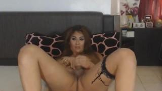 Beautiful Tranny Strokes her Hard Rod
