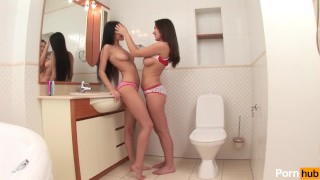 Preview 2 of Busty Lesbian Babes Dildo Fuck Each Other In The Bathroom