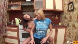 Lesbian Teen anally rides strapon