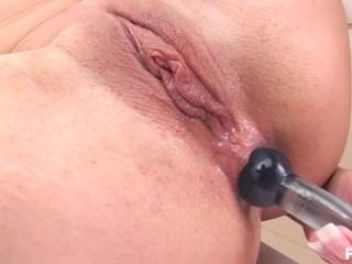filthy slut cools off in shower