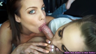 Amber britney foxxx sasha double blowjob and britney load