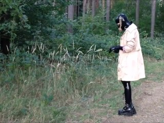 RubberDoll in the forest in total latex enclosure