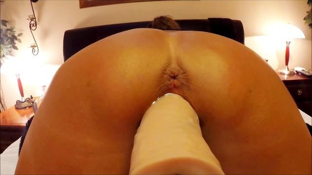 Huge dildo machine - Pov close up of wife stretching herself around huge dildo machine - orgasms