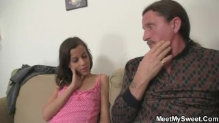 His dad's cock rides gf old threesome couch