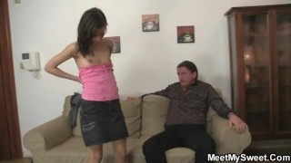 His GF rides old dad's cock! porno