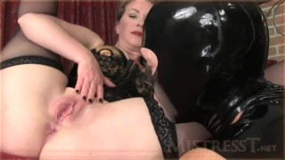 Mistress T - cuck gimp suck cock and licks all  doggy style femdom blowjob fetish milf bisexual kink kinky brunette cowgirl stockings ass licking bisexual cuckold
