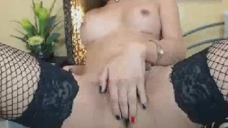 Blonde Shemale Wildly Strokes her Cock until she Cums Trans masturbate