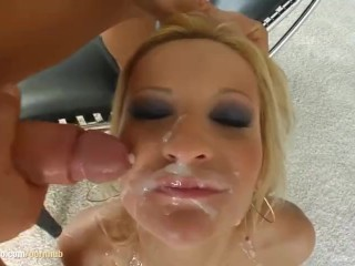 Blowbang group blowjob given by Ginna Brigitta on Cum For Cover