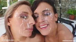 Natalia and Miah giving group blowjob for facial ending on Cum For Cover