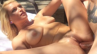 Hot Blonde With Big Tits Skylar Madison Fucks A Huge Cock While Tanning!
