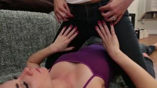 Lesbian Deep Kissing in Pee Jeans