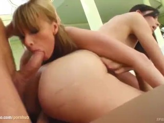 Kate and Alexandra Gold shares a load of cum after hardcore sex on Sperm Sw