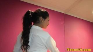 Petite latina tgirl getting ready for scene porno