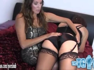 Naughty tranny slut is spanked hard for wearing her sexy femdoms panties