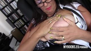 Cougar busty Lulu Lush bondage her huge boobss Amateur mature