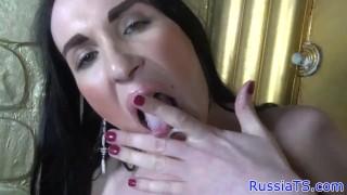 Solo Russian trans jerking her hard dick