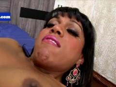 Latin ebony tgirl tugging her bigcock
