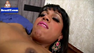 Latin ebony tgirl tugging her bigcock Point of