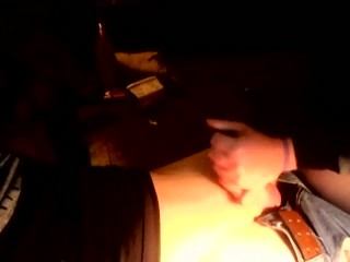 Fiance casually touches my fat cock while casually masturbating