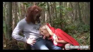 Preview 2 of Big bad wolf explodes hot spunk in horny busty blonde sluts face after anal