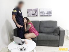 Fake Cop Hot Web Cam Model Performs for Cop
