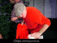 Christmas gangbang 8 old dicks hard fucking young busty Julie Skyhigh