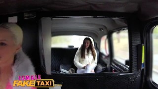 Minx by strap busty on blonde with femalefaketaxi fucked driver slim gets strap czech