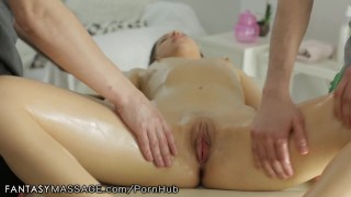 FantasyMassage Young Russian Fully Serviced by 2 Dicks porno